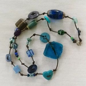 Lamp worked Art Glass Bead and Button Necklace